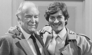 Tony Britton. left, and Nigel Havers on the set of the television sitcom Don't Wait Up in 1988.