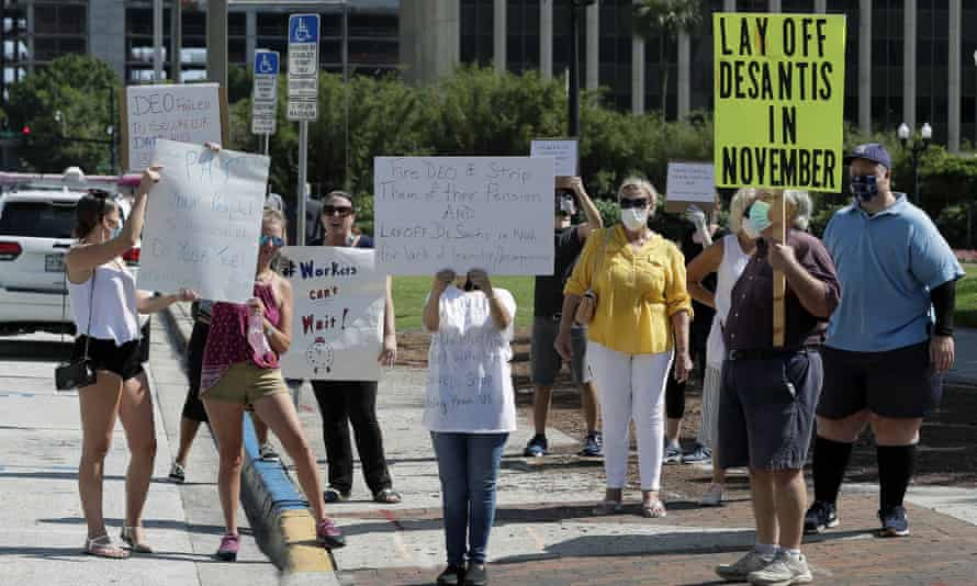 Demonstrators in Orlando protest against the Florida unemployment benefits system.