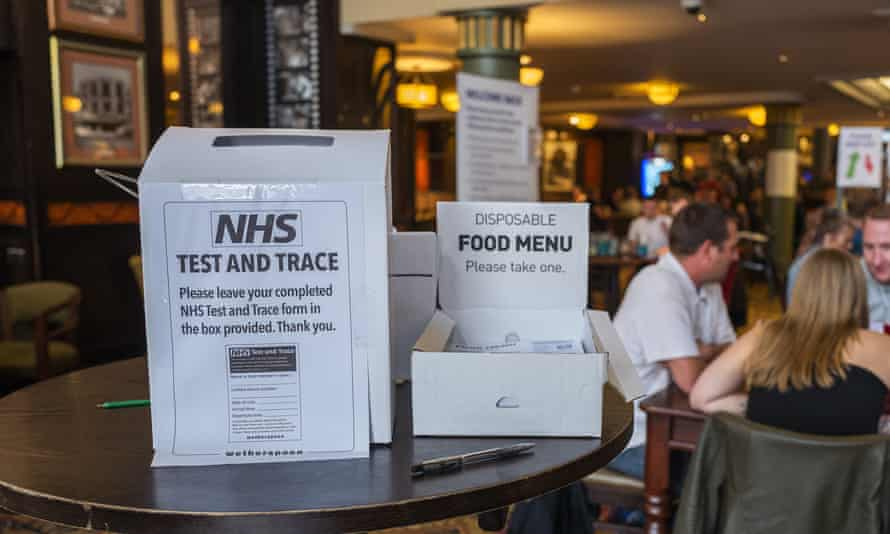Test and trace signs at a pub in Rochdale