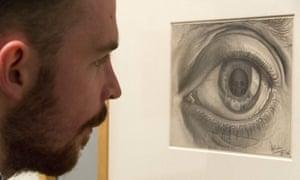 Art work titled Study for 'Eye' (1946) by artist M.C. Escher