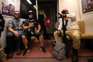 Far-right supporters on the Washington metro