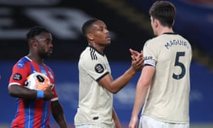 Manchester United's Anthony Martial celebrates scoring their second goal Harry Maguire.