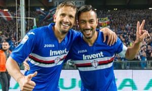 Sampdoria's two goalscorers in the Derby della Lanterna, Gastón Ramirez (left) and Fabio Quagliarella, celebrate their side's 2-0 win over Genoa.