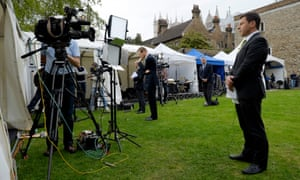 The BBC on College Green in Westminster, by the Houses of Parliament.
