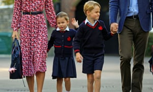 Princess Charlotte on her first day of school with her brother Prince George.