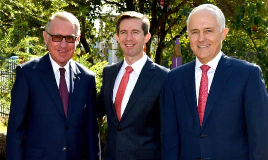 Businessman David Gonski, with   Simon Birmingham and Malcolm Turnbull