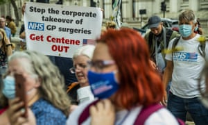 Some of the protesters focused on protecting the NHS against privatisation and commercial interests