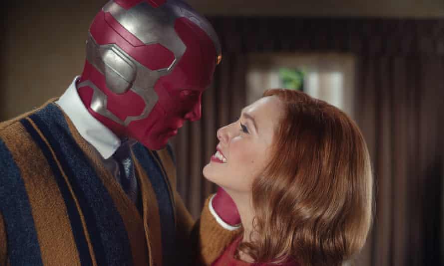 Elizabeth Olsen as Wanda and Paul Bettany as Vision in WandaVision.