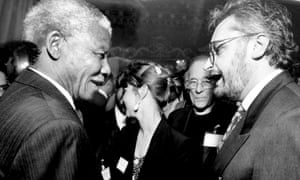 Alan Christie, right, with Nelson Mandela in the 1990s. Meeting the South African leader was one of Christie's proudest moments