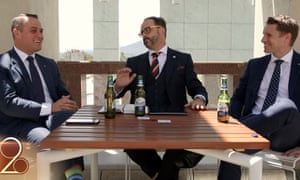 Tim Wilson, Matt Andrews and Andrew Hastie in the 'Keeping it Light' video released by the Bible Society in March 2017 featuring Coopers Premium Light beer. Australia