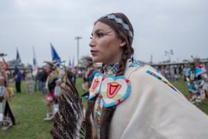 Crow Tribal member and Women's Crowstyle traditional dancer Lanissa Don't Mix dances during the grand entry procession of the 100th Annual Crow Fair Celebration.