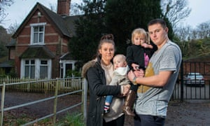 Chloe Taylor and Iain Hudson with their children Belle and Bentley outside The Lodge B&B where they are currently staying.