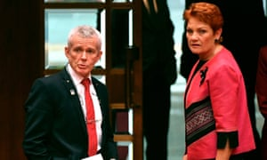 One Nation senator Malcolm Roberts and One Nation leader Pauline Hanson.