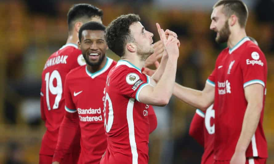 Diogo Jota celebrates scoring for Liverpool against his former club Wolves.