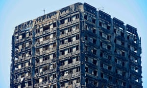 The charred remains of the Grenfell Tower block