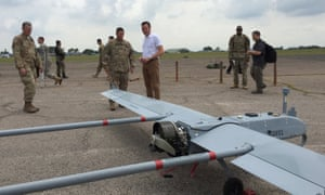Eric Fanning, the US army's secretary, watches an unmanned aerial vehicle (UAV) during an annual joint military exercise with the Malaysian army on Saturday.