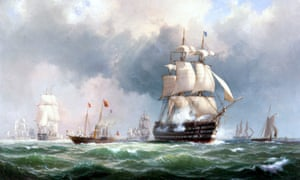 'The Baltic fleet leaving Spithead, 15 March 1854' - oil painting by the Danish artist Wilhelm Melbye (1824-1882)