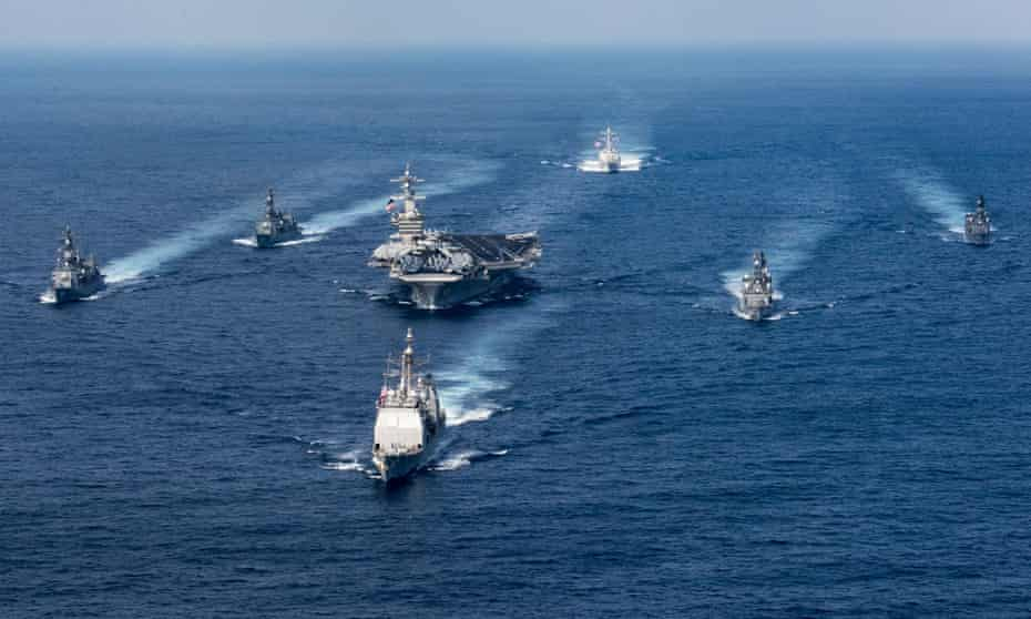 The Nimitz-class aircraft carrier USS Carl Vinson and other US ships, seen in the Philippine Sea in March.