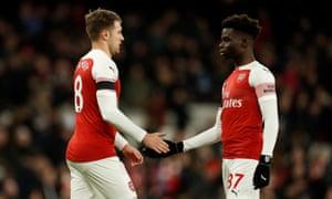 Bukayo Saka and Aaron Ramsey, Arsenal