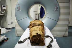 The mummy of the ancient Egyptian priest Nesyamun was put into a CT scanner to examine his vocal tract.