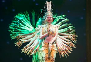 Members of the China Disabled People's Performing Art Troupe on stage in Mississauga, Canada