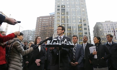 Washington Attorney General Bob Ferguson talks to reporters in Seattle on Friday 3 February 2017, following a hearing on President Donald Trump's executive order on immigration.