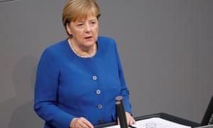 Angela Merkel speaking to the Bundestag in Berlin this morning.