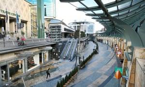 An empty shopping street n Rotterdam