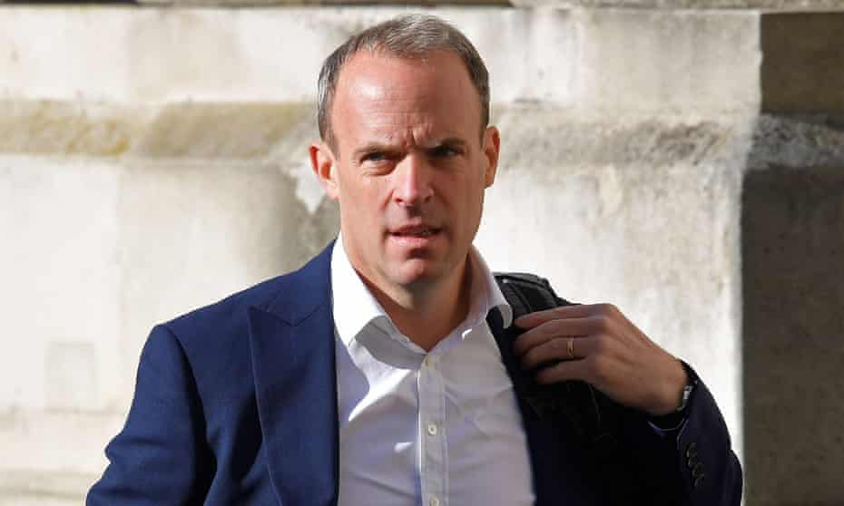 Britain's Foreign Secretary Dominic Raab arrives to attend a Cabinet meeting of senior government ministers at the Foreign and Commonwealth Office (FCO) in London on September 1, 2020.