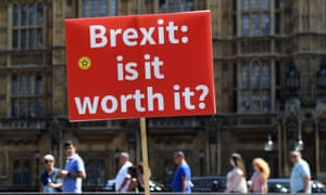 An anti-Brexit placard displayed during a protest outside parliament in London on 3 July 2018