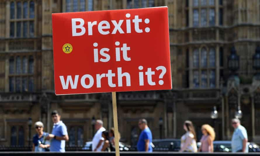 anti-Brexit placard outside Houses of Parliament