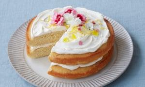 Lemon and elderflower drizzle cake.
