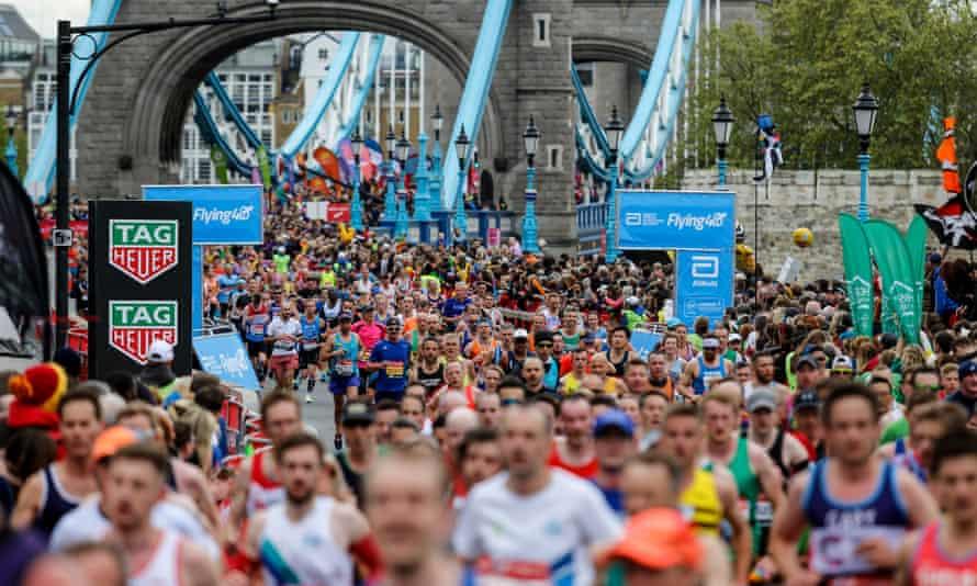 London Marathon runners cross Tower Bridge in 2019
