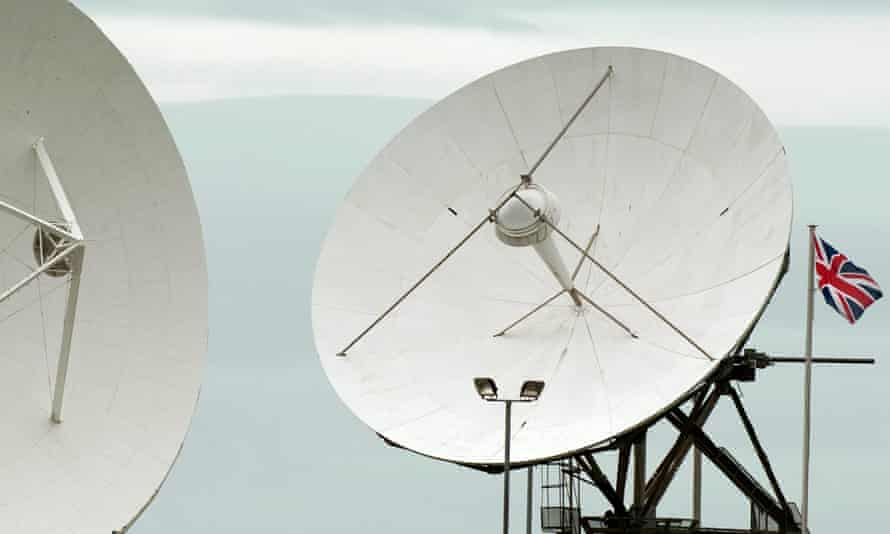 Satellite dishes at GCHQ premises at Bude in Cornwall.