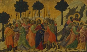 The Kiss of Judas and Christ taken prisoner, detail of a tile from the Stories of Christ's Passion and Resurrection, the reverse surface of the Maesta' in the Cathedral of Siena, 1308-1311, altarpiece by Duccio di Buoninsegna.