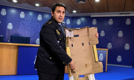 Smugglers impregnated cardboard with cocaine, Spanish police say