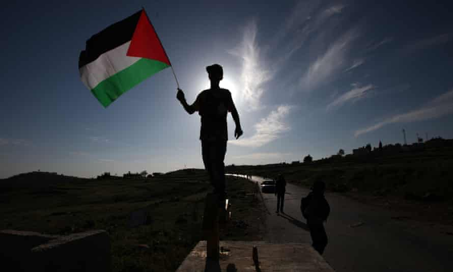 A young Palestinian holds a Palestinian flag