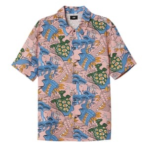 pink blue green yellow patterned short sleeved shirt H&M