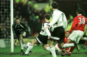 Solskjaer scores his first for United in their 8-1 win over Nottingham Forest.