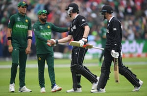 Hafeez shakes hands with Neesham after he finishes on 97 not out.