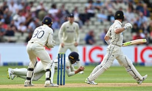 Will Young is caught by Ollie Pope of England off the bowling of Dan Lawrence, the final ball of the day.