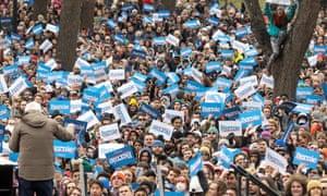Democratic presidential candidate Senator Bernie Sanders rallies with supporters in Boston, Massachusetts, on Saturday.