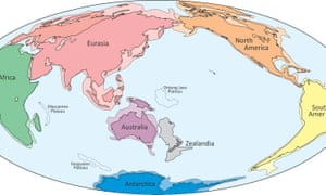 Zealandia shown on a map of the continents