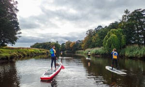 Paddleboarding on the River Roe, Northern Ireland.