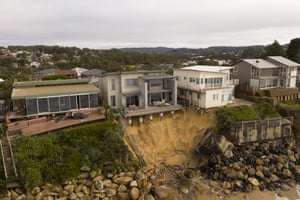 An aerial view of the coastal erosion to local homes in the suburb of Wamberal on July in Central Coast.