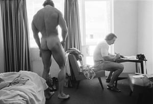 The future governor of California … Arnold Schwarzenegger at the Mr Olympia contest in South Africa in 1975.