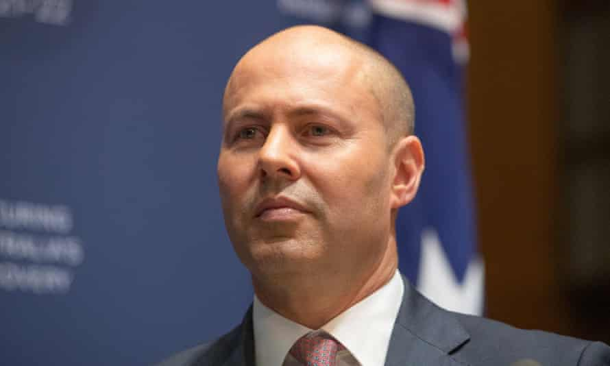 Josh Frydenberg at a media conference on Tuesday ahead of delivering the 2021 Australian federal budget.