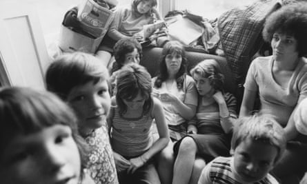 Women and children at a women's refuge in 1974.
