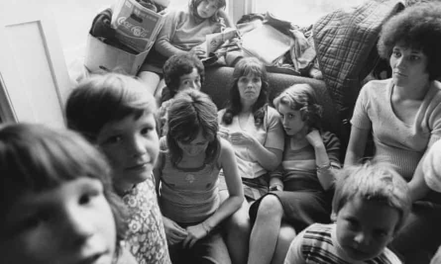 A crowded refuge in Chiswick, 1974.