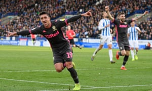Pablo Hernández wheels away after heading Leeds back to the top of the Championship table at Huddersfield.